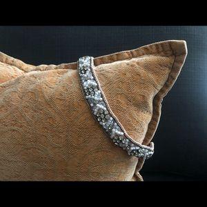 Beaded Headband w Floral Design and Rhinestones